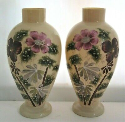 Antique Pair Bristol Glass Vases Hand Painted Enameled Flower Pink Mauve Green
