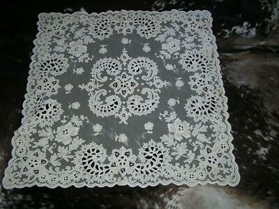 "Vintage Belgium Cut Lace intricate Formal Tablecloth 36"" x 34"""