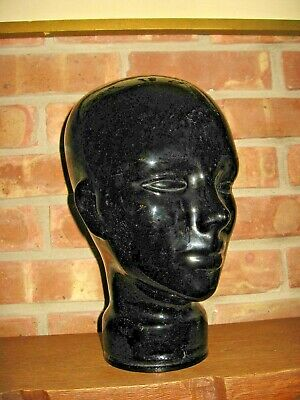Glass Mannequin Head - Face Display - Life Size- BLACK