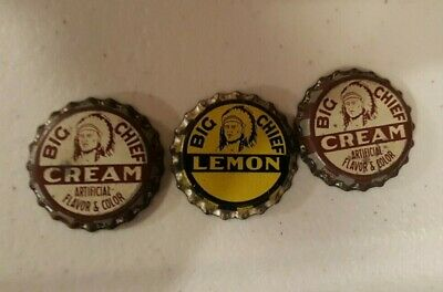 2 BIG CHIEF CREAM 1 Lemon SODA POP BOTTLE CAPs; COCA-COLA BOTTLING UNUSED CORK