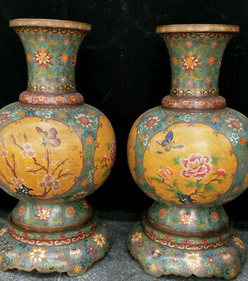 "19"" Cloisonne Enamel Bronze Tree Peony Flower Butterfly Bottle Pot Vase Jar Pair"
