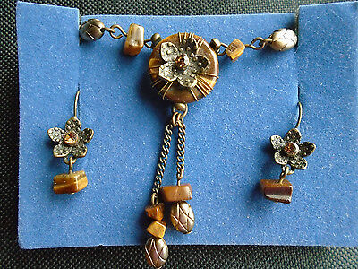 Avon Brown Beaded Tigers Eye Faux Citrine Floral Necklace Earring Set~Preloved