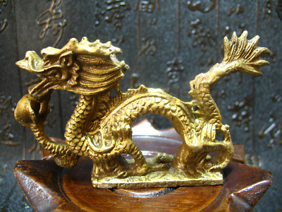China Solid Brass Zodiac Running Dragon Holding Pearl Ball Fengshui Lucky Statue