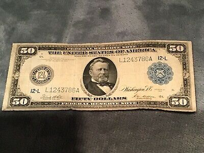 1914 $50 Federal Reserve Note San Francisco Fr#1071 Very Good