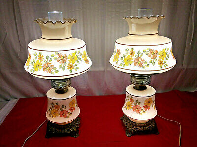 PAIR VINTAGE MID CENTURY FLORAL NEEDLEPOINT PATTERN HURRICANE LAMPS w/ CHIMNEY