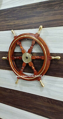 """Antique Nautical Wooden Ship Steering Wheel Decor Brass Handle Wall Boat 24"""""""