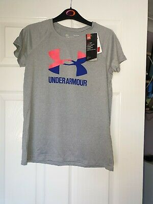 Bnwt Girls Designer Under Armour Heat Gear Training Top Aged 7/8 Yrs Rrp £30.00