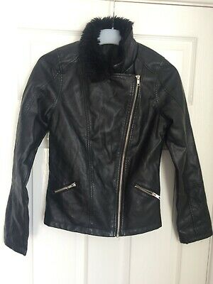 Miss E-Vie Black Faux Leather Zip Fastening Bomber Jacket 13-14 Years