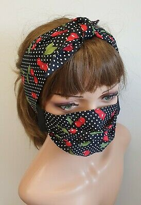 Set of face mask and self tie headband reusable washable cotton handmade masks
