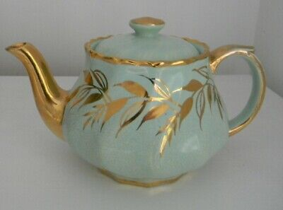 Vintage Teapot Boston Made in England initials base and lid mint green and gold