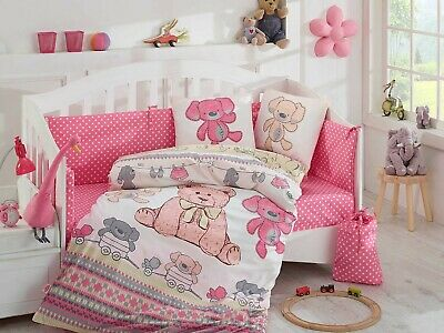 4 Piece organic cotton baby cot quilt cover set. Cuddly pink - includes sheet