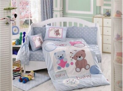 4 Piece organic cotton baby cot quilt cover set. Teddy blue - includes sheet