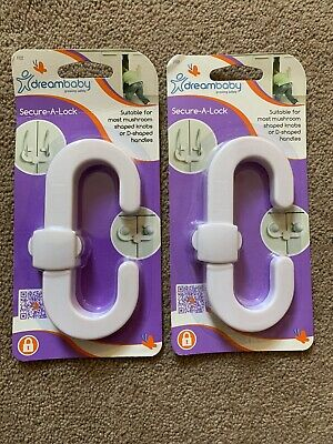 DreamBaby Secure-A-Lock Child Safety Cupboard Locks Baby Proofing - 2 Packs NEW
