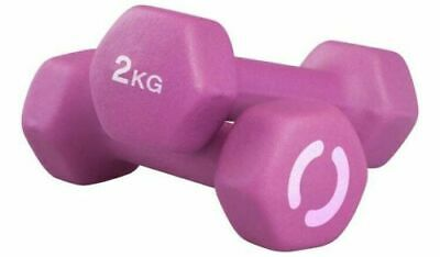 Opti 2 x 2kg  Neoprene Dumbbell Weights Set Home Fitness Weight Gym Training