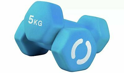 Opti 2 x 5kg  Neoprene Dumbbell Weights Set Home Fitness Weight Gym Training