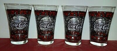 Set Of 4 Vintage Enjoy  Coca Cola Stained Glass, Tiffany Style Drinking Glass...