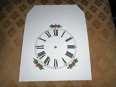"""Steeple Paper (Card) Clock Dial- 4 1/4"""" MINUTE TRACK-Floral-MATT WHITE - Parts"""