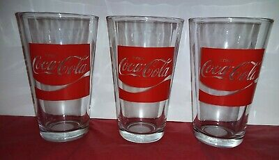 Lot of 3 Vintage Enjoy Coca Cola Drinking Glasses/ Cups.Libbey. 16 oz. New