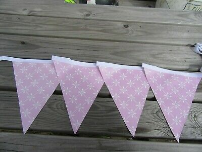 Pvc Garden Bunting In Pretty Pink Design 10Ft Approx 3 Mtrs