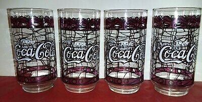 Set of 4 Vintage Enjoy Coca Cola Purple Stained Glass Drinking Glasses....