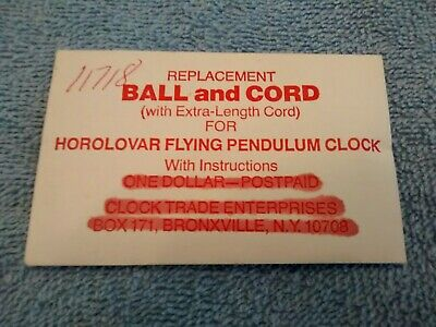 """Horolovar Flying Pendulum Replacement Ball and Cord Clock part New (18cm) 7"""""""