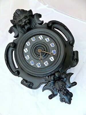 "20"" Large Antique French Black Forest Carved Wood plaster LION Wall Clock 19TH"