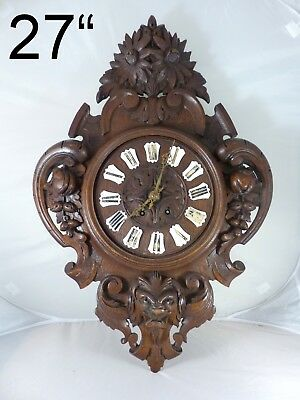 "27"" Large Antique French Black Forest Carved Oak Wood LION Wall Clock 1855"