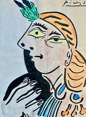 Picasso Hand Signed Original Watercolour Painting