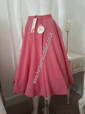 Lindy Bop Peggy Sue Pomegranate SIZE 8 10 12 NEW full circle chambray skirt bnwt