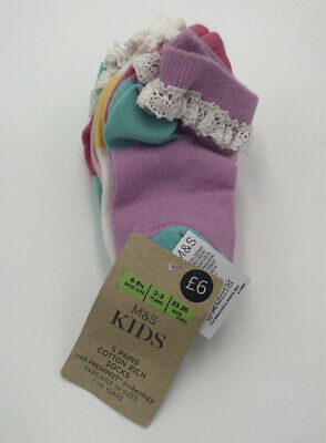 Girls Socks 5 Pairs Marks & Spencers UK Size 6-8.5 (23-26) Brand New with Tags