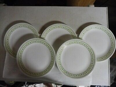 "Lot of 5 Corelle Light Green Daisy Dinner 10 1/4"" Plate"