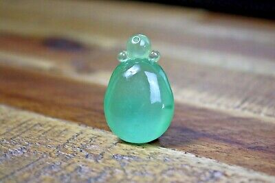 vintage Chinese, stunning ice green jade pendant with lucky dot!