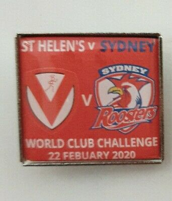 St Helen's V Sydney Roosters World Club Challenge 2020 Match Badge - Red