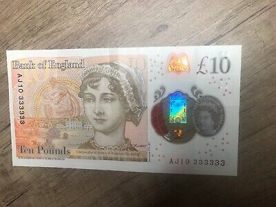 New £10 Note AJ10 333333 Solid Serial