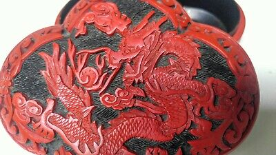 Chinese Cinnabar Lacquered Carved Dragon Trinket Box - Black & Red