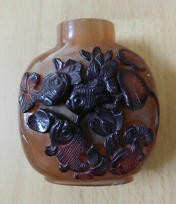 Vintage Antique Chinese Peking Glass Fish Snuff Bottle