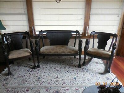 1800'S Empire Karpen Parlor Set Settee 2 Chairs Beautifully Carved Ladies Head