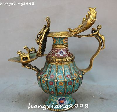 Cloisonne Enamel Gilt 5-Heads Snake Naga Kanya Elephant Mammon Vase Bottle Jar