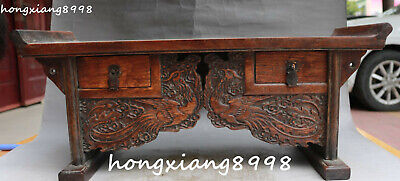 Old Chinese Huanghuali Wood Fenghuang Phoenix Bird Jacobsen Coffee Table Drawer