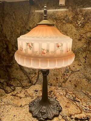 Beautiful Rose Brothers Art Nouveau Table Lamp with Reverse Painted Shade