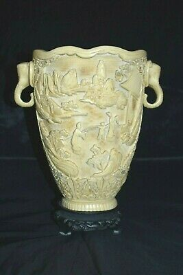 """Vintage Asian Japanese Chinese Carved Resin Vase With Elephant Handles 11""""T"""