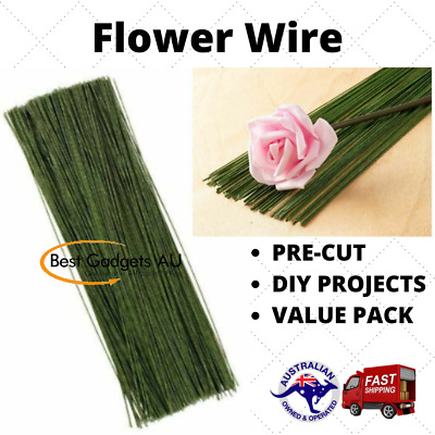 Florist Wire Green Plastic Coated 23cm x 0.7mm gauge Flowers Arrangements Craft