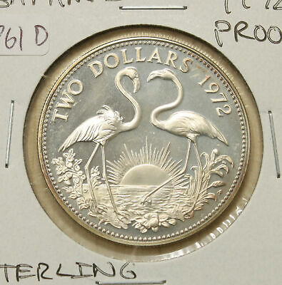 Bahamas 1972 PROOF Sterling Silver Two Dollars $2 .88oz ASW 761D