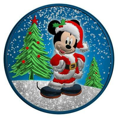 Niue 2019 $2 Mickey Christmas - Metallic Blue with Diamond Dust 1 Oz Silver Coin