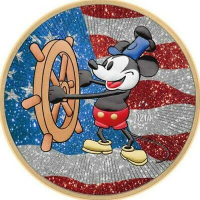 Niue 2017 $2 Steamboat Willie - US Flag - Diamond Dust 1 Oz Silver Coin