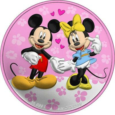 Niue 2020 $2 Mickey&Minnie Valentine's Day - Flowers of Love 1 Oz Silver Coin