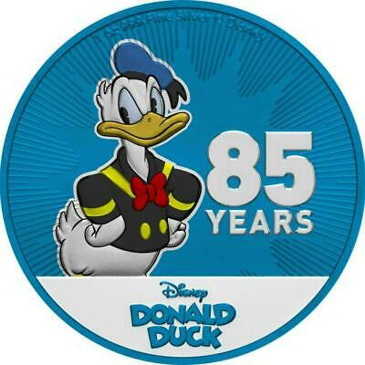 Niue 2019 $2 Donald Duck 85th Anniversary - Metallic Blue 1 Oz Silver Coin