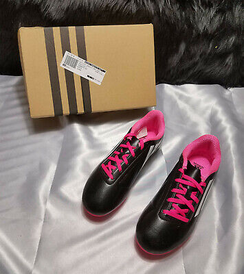 New In Box Adidas Black White Pink Girls Soccer Shoes - Conquisto Fg J - Sz 5