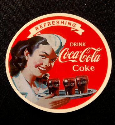 """Coca-Cola sticker """" CLASSIC COKE REFRESHING"""" 2 1/2 inch round about. GLOSSY!"""