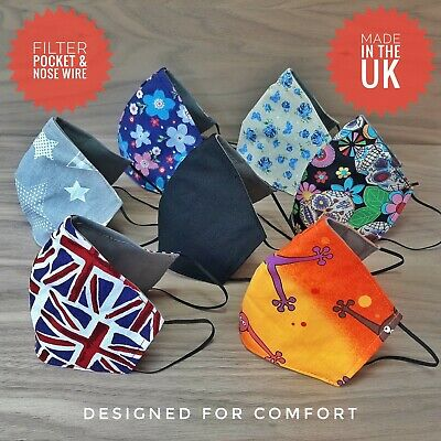 Washable Designer Union Flag Face Covering with Nose strip and Filter Pocket